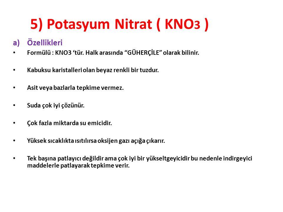 """5) Potasyum Nitrat ( KNO 3 ) a)Özellikleri Formülü : KNO3 'tür. Halk arasında """"GÜHERÇİLE"""" olarak bilinir. Kabuksu karistalleri olan beyaz renkli bir t"""