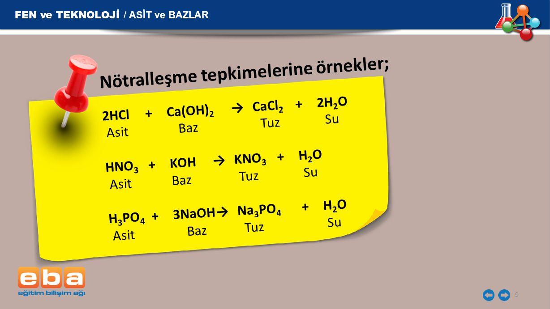 9 2HCl+Ca(OH) 2 →CaCl 2 +2H 2 O Asit Baz Tuz Su HNO 3 +KOH→KNO 3 +H 2 O Asit Baz Tuz Su H 3 PO 4 +3NaOH→Na 3 PO 4 +H 2 O Asit Baz Tuz Su FEN ve TEKNOL