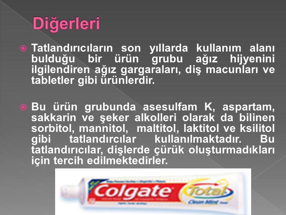  Tatlandırıcıların son yıllarda kullanım alanı bulduğu bir ürün grubu ağız hijyenini ilgilendiren ağız gargaraları, diş macunları ve tabletler gibi ü