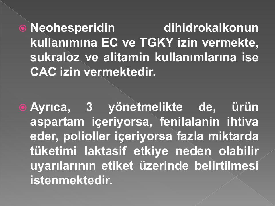  Neohesperidin dihidrokalkonun kullanımına EC ve TGKY izin vermekte, sukraloz ve alitamin kullanımlarına ise CAC izin vermektedir.  Ayrıca, 3 yönetm