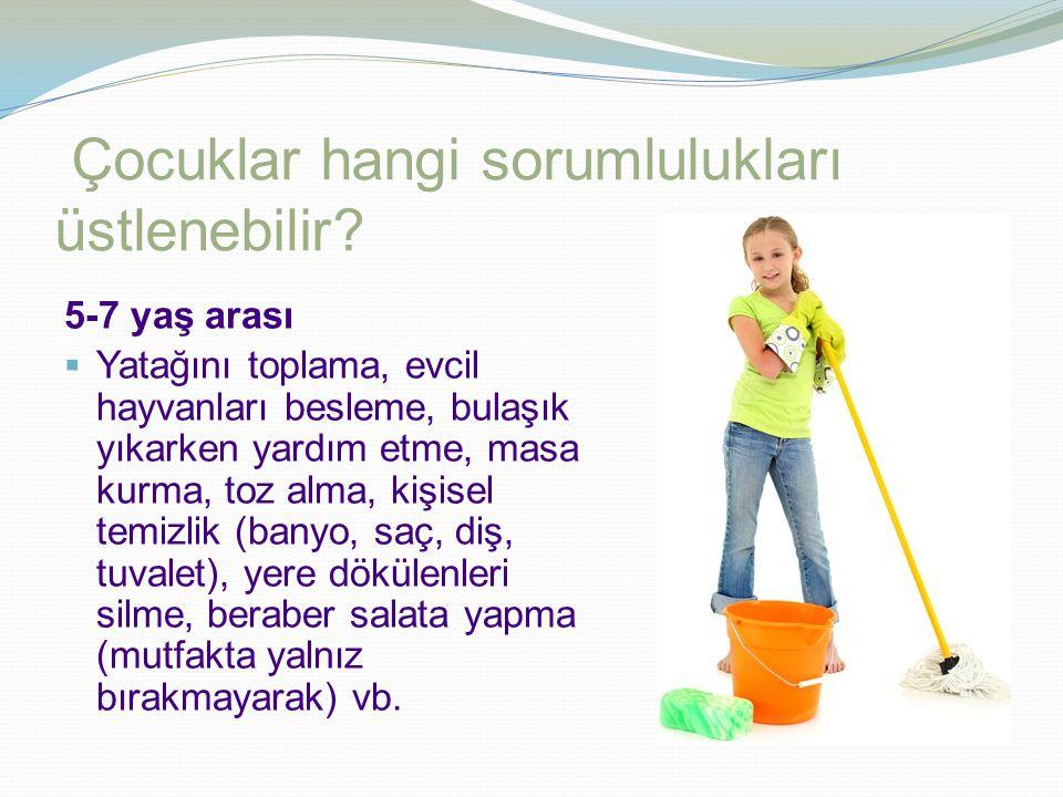 Çocuklar hangi sorumlulukları üstlenebilir? 2-5 yaş arası  Özbakım becerileri: yemek yeme, diş fırçalama, pijama giyme, giyinme vs.  Küçük ev işleri