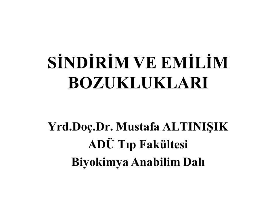 SİNDİRİM VE EMİLİM BOZUKLUKLARI Yrd.Doç.Dr. Mustafa ALTINIŞIK ADÜ Tıp Fakültesi Biyokimya Anabilim Dalı