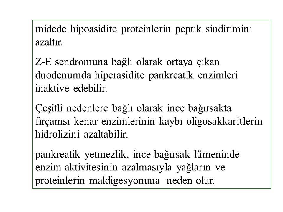 midede hipoasidite proteinlerin peptik sindirimini azaltır. Z-E sendromuna bağlı olarak ortaya çıkan duodenumda hiperasidite pankreatik enzimleri inak
