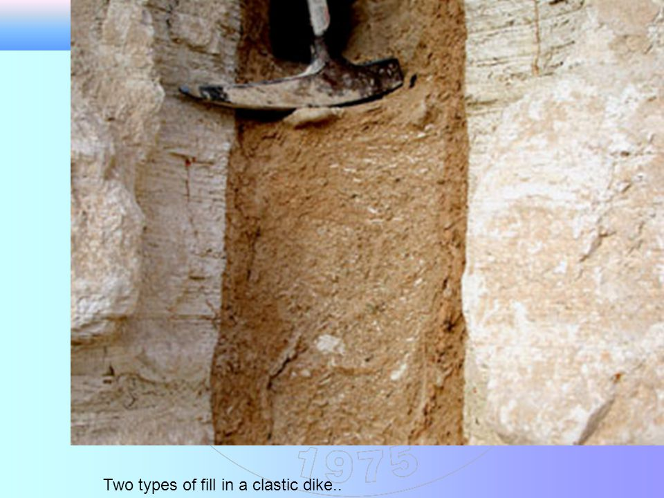 Two types of fill in a clastic dike..