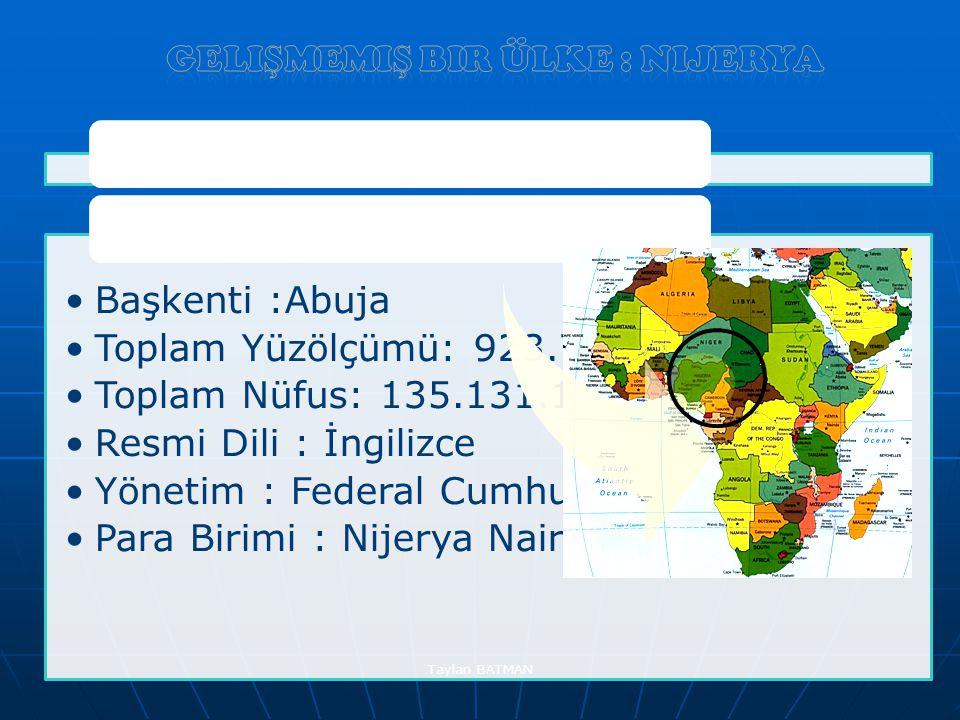 Ülke kimlik Kartı Başkenti :Abuja Toplam Yüzölçümü: 923.768 Toplam Nüfus: 135.131.164 Resmi Dili : İngilizce Yönetim : Federal Cumhuriyet Para Birimi