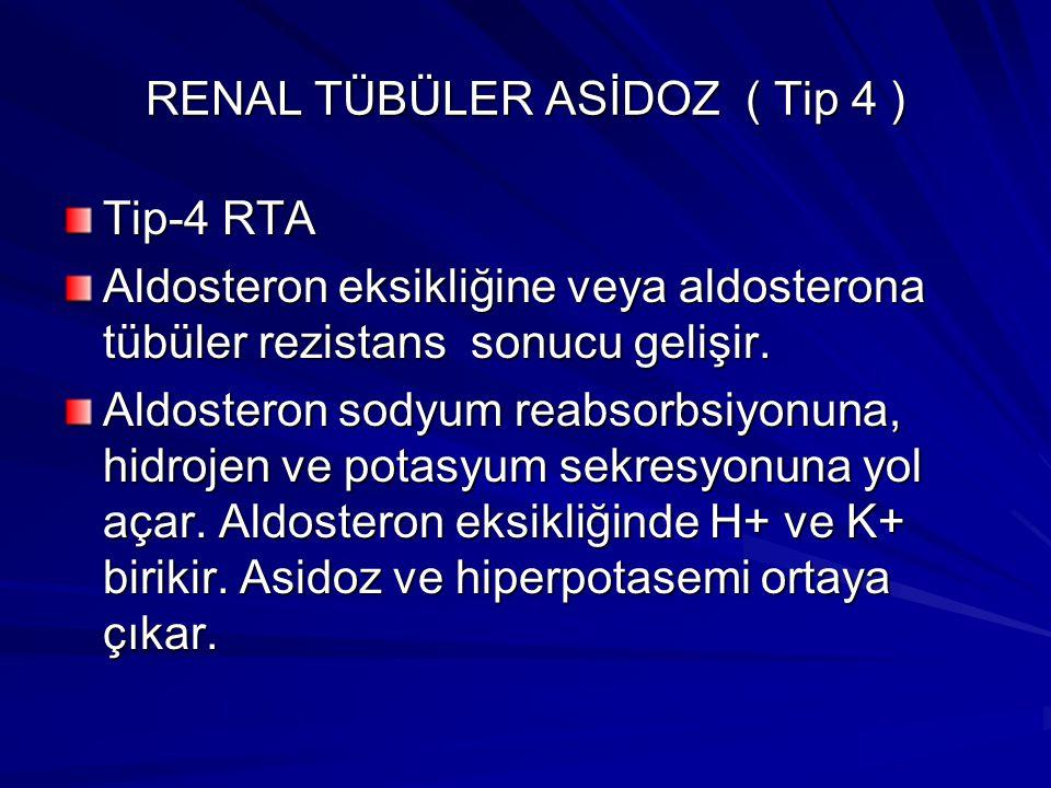 RENAL TÜBÜLER ASİDOZ ( Tip 4 ) Tip-4 RTA Aldosteron eksikliğine veya aldosterona tübüler rezistans sonucu gelişir.