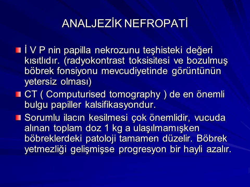 ANALJEZİK NEFROPATİ İ V P nin papilla nekrozunu teşhisteki değeri kısıtlıdır.