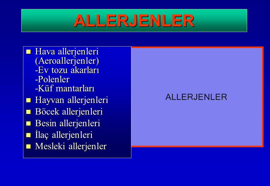 ALLERJENLER Hava allerjenleri (Aeroallerjenler) -Ev tozu akarları -Polenler -Küf mantarları Hava allerjenleri (Aeroallerjenler) -Ev tozu akarları -Pol