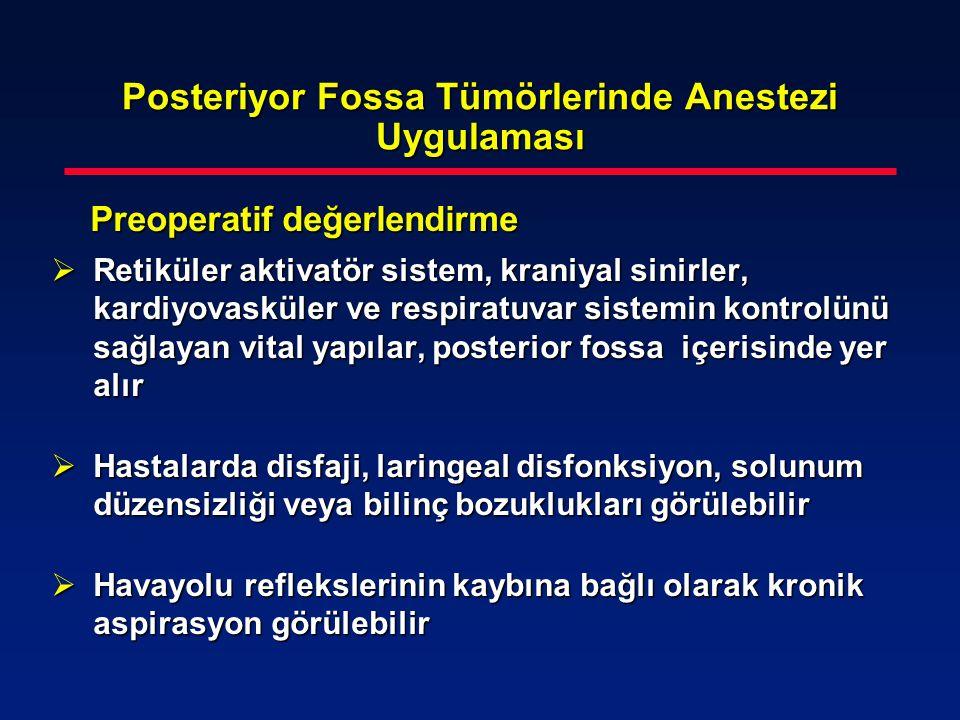 Posteriyor Fossa Tümörlerinde Anestezi Uygulaması Preoperatif değerlendirme Preoperatif değerlendirme  Retiküler aktivatör sistem, kraniyal sinirler,