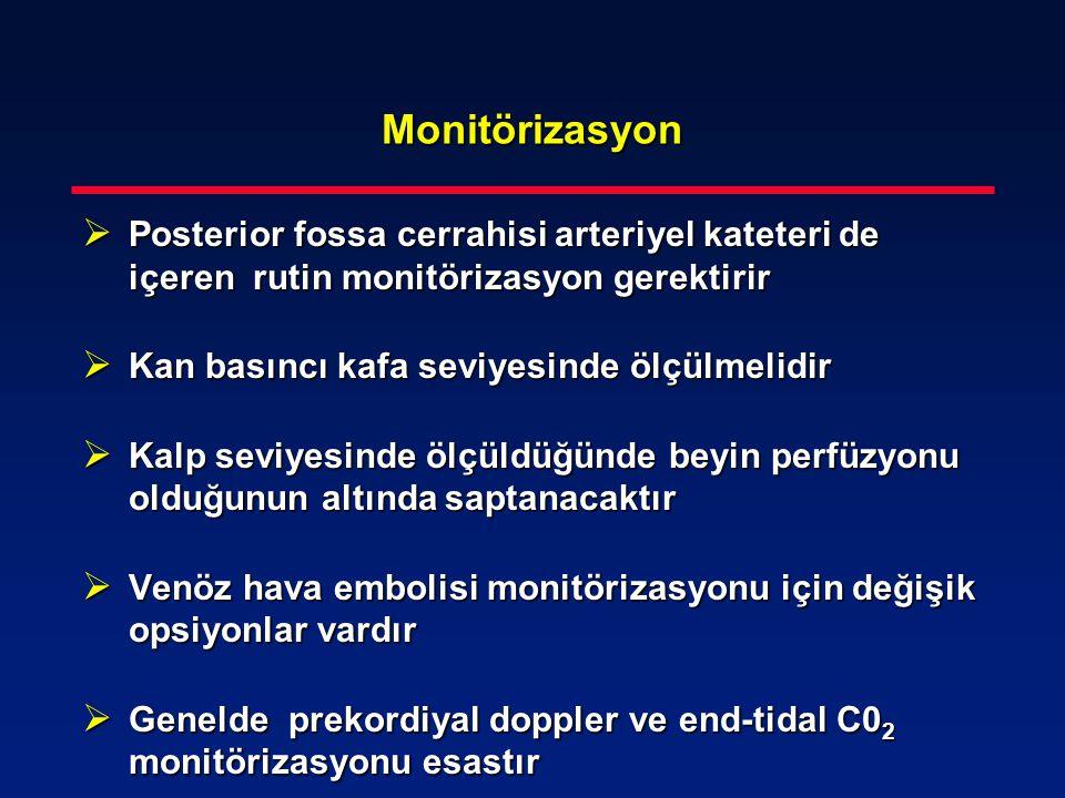 Monitörizasyon  Posterior fossa cerrahisi arteriyel kateteri de içeren rutin monitörizasyon gerektirir  Kan basıncı kafa seviyesinde ölçülmelidir 