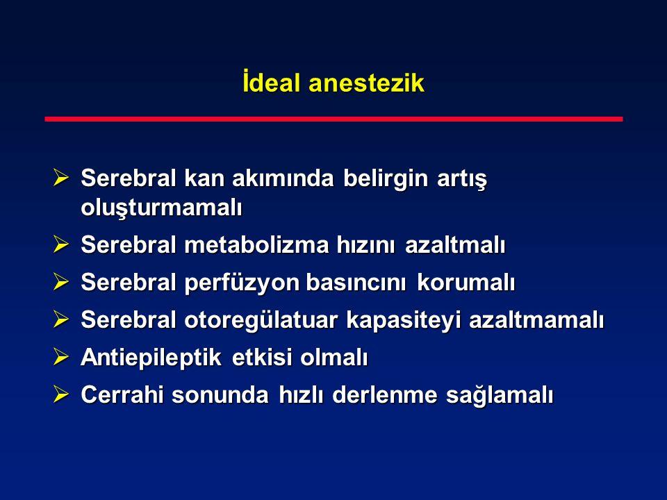 İdeal anestezik  Serebral kan akımında belirgin artış oluşturmamalı  Serebral metabolizma hızını azaltmalı  Serebral perfüzyon basıncını korumalı 