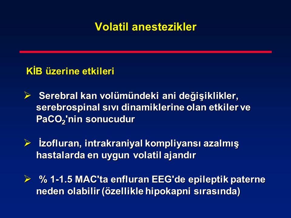 Volatil anestezikler KİB üzerine etkileri KİB üzerine etkileri  Serebral kan volümündeki ani değişiklikler, serebrospinal sıvı dinamiklerine olan etk