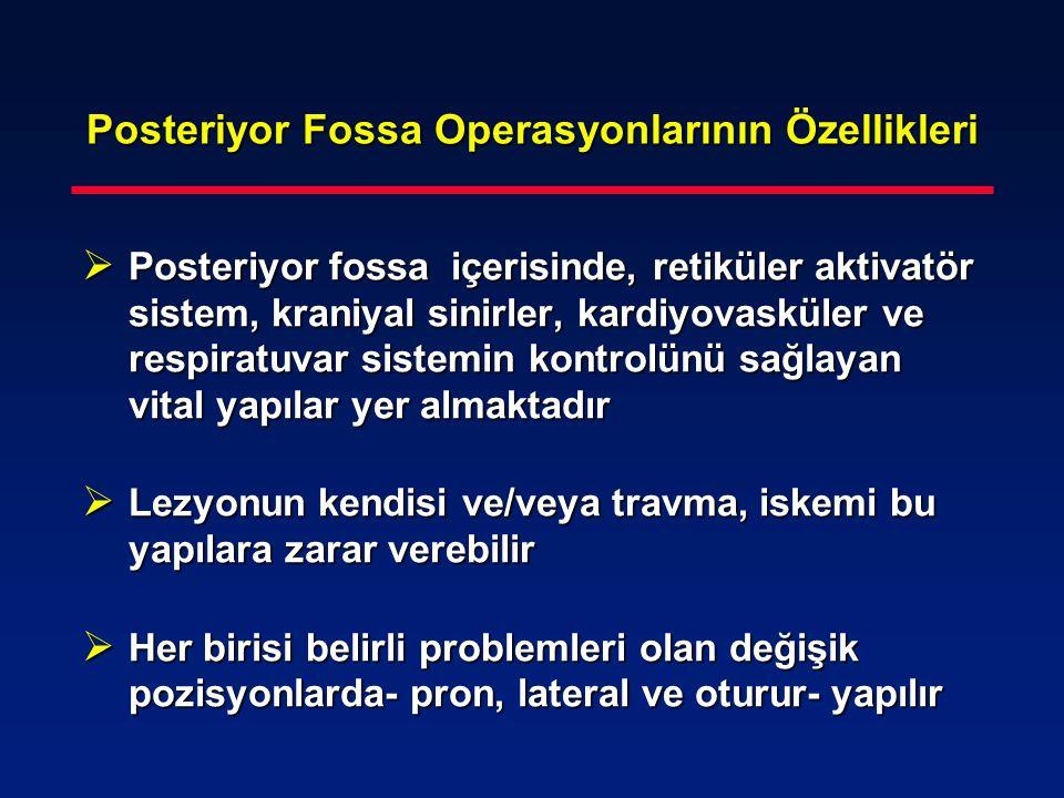 Posteriyor Fossa Operasyonlarının Özellikleri  Posteriyor fossa içerisinde, retiküler aktivatör sistem, kraniyal sinirler, kardiyovasküler ve respira