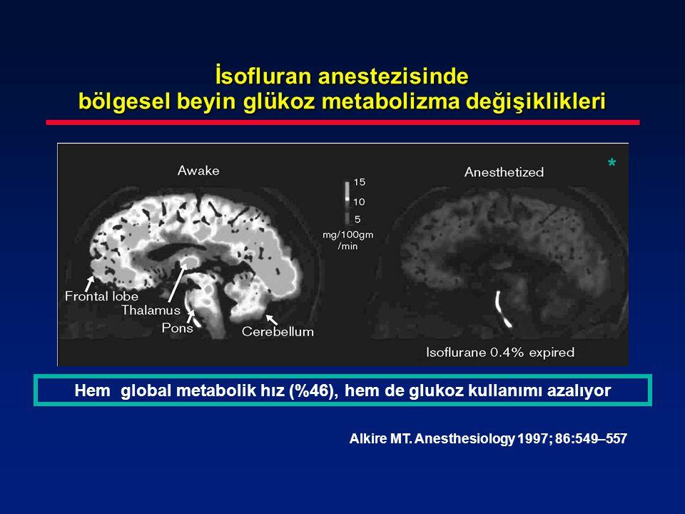 İsofluran anestezisinde bölgesel beyin glükoz metabolizma değişiklikleri Alkire MT. Anesthesiology 1997; 86:549–557 Hem global metabolik hız (%46), he