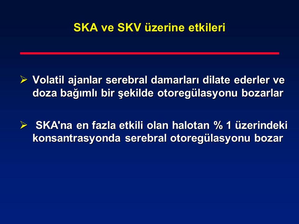 SKA ve SKV üzerine etkileri  Volatil ajanlar serebral damarları dilate ederler ve doza bağımlı bir şekilde otoregülasyonu bozarlar  SKA'na en fazla