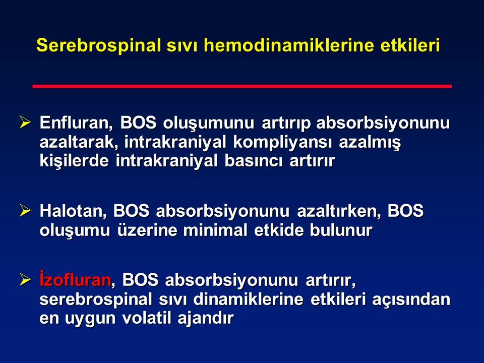 Serebrospinal sıvı hemodinamiklerine etkileri  Enfluran, BOS oluşumunu artırıp absorbsiyonunu azaltarak, intrakraniyal kompliyansı azalmış kişilerde