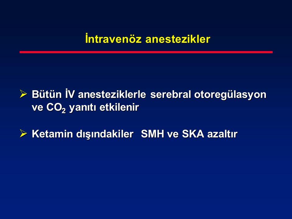 İntravenöz anestezikler İntravenöz anestezikler  Bütün İV anesteziklerle serebral otoregülasyon ve CO 2 yanıtı etkilenir  Ketamin dışındakiler SMH v
