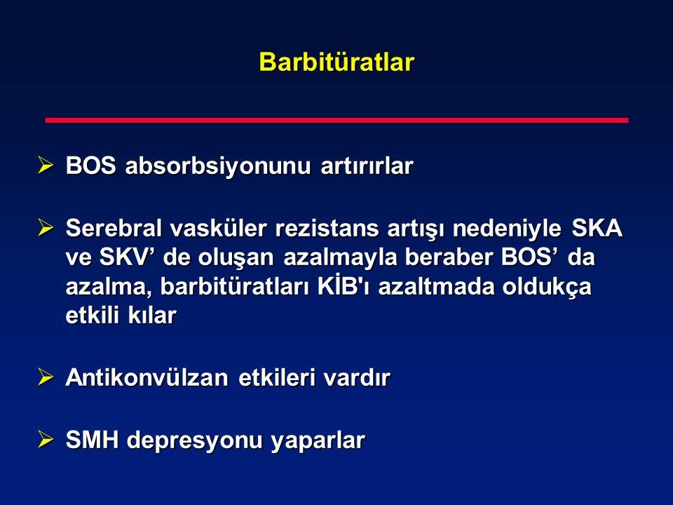 Barbitüratlar  BOS absorbsiyonunu artırırlar  Serebral vasküler rezistans artışı nedeniyle SKA ve SKV' de oluşan azalmayla beraber BOS' da azalma, b