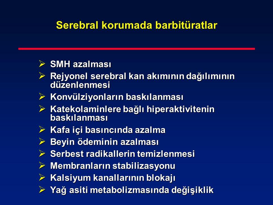 Serebral korumada barbitüratlar  SMH azalması  Rejyonel serebral kan akımının dağılımının düzenlenmesi  Konvülziyonların baskılanması  Katekolamin