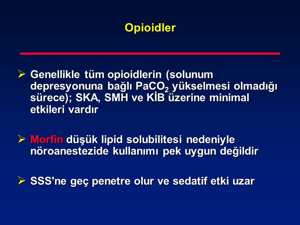 Opioidler  Genellikle tüm opioidlerin (solunum depresyonuna bağlı PaCO 2 yükselmesi olmadığı sürece); SKA, SMH ve KİB üzerine minimal etkileri vardır