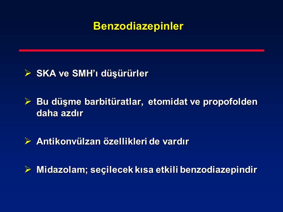 Benzodiazepinler  SKA ve SMH'ı düşürürler  Bu düşme barbitüratlar, etomidat ve propofolden daha azdır  Antikonvülzan özellikleri de vardır  Midazo