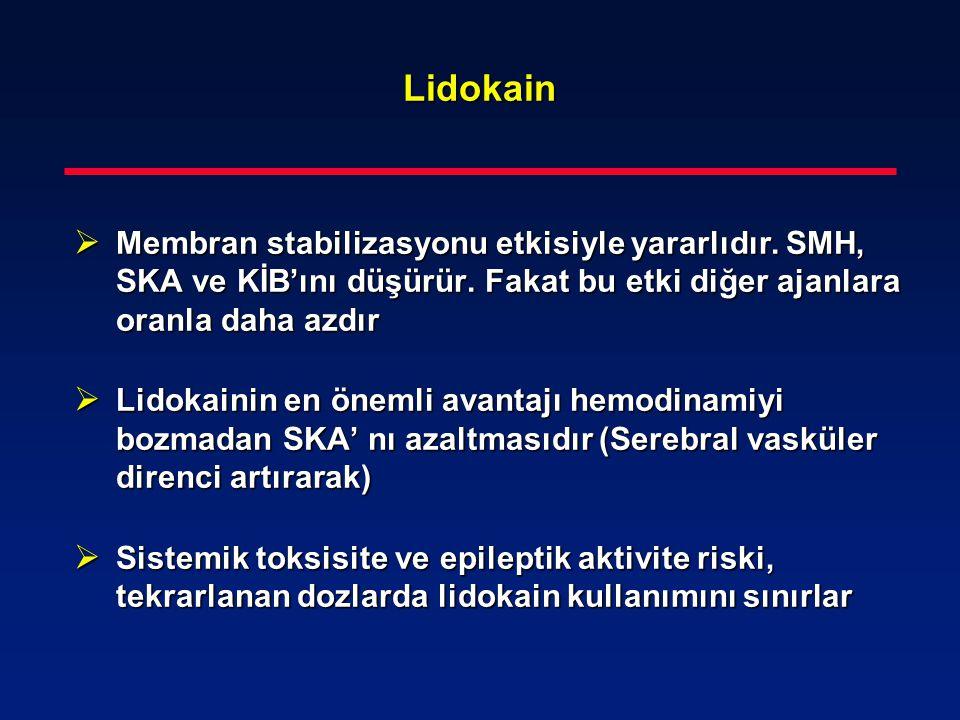 Lidokain  Membran stabilizasyonu etkisiyle yararlıdır. SMH, SKA ve KİB'ını düşürür. Fakat bu etki diğer ajanlara oranla daha azdır  Lidokainin en ön
