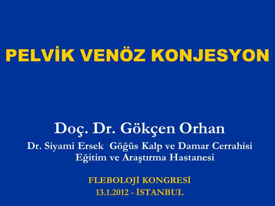 PELVİK VENÖZ KONJESYON Doç. Dr. Gökçen Orhan Dr. Siyami Ersek Göğüs Kalp ve Damar Cerrahisi Eğitim ve Araştırma Hastanesi FLEBOLOJİ KONGRESİ 13.1.2012