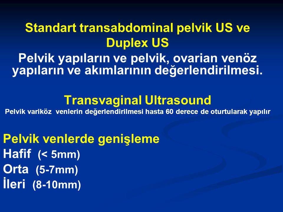 Standart transabdominal pelvik US ve Duplex US Pelvik yapıların ve pelvik, ovarian venöz yapıların ve akımlarının değerlendirilmesi. Transvaginal Ultr