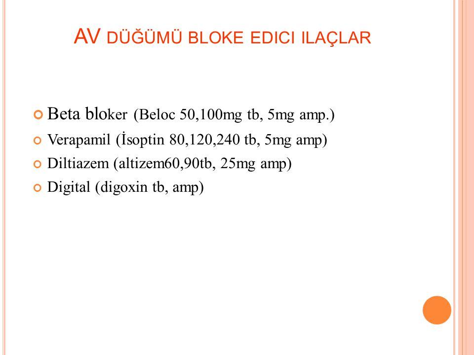 T EDAVIDE H EDEFLER Ventrikül hızı kontrolü: AV dügümü bloke edici ajanlar kullanılır. Sinüs ritmi sağlanması ve idamesi Antikoagulan tedavi: Aspirin,
