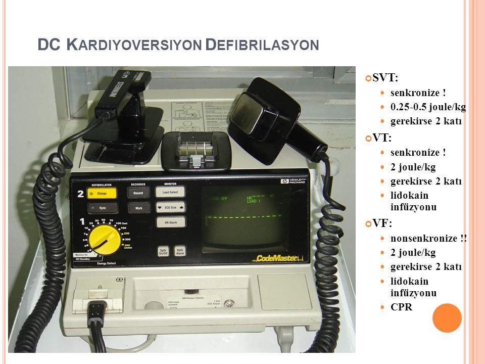 SR DÖNDÜRME ( KARDIYOVERSIYON ) Farmakolojik kardiyoversiyon Propofenon (Rhytmonorm 150 mg tb, 70mg amp) Amiodaron (Cordaron 200mg tb, 150mg amp) Dofe
