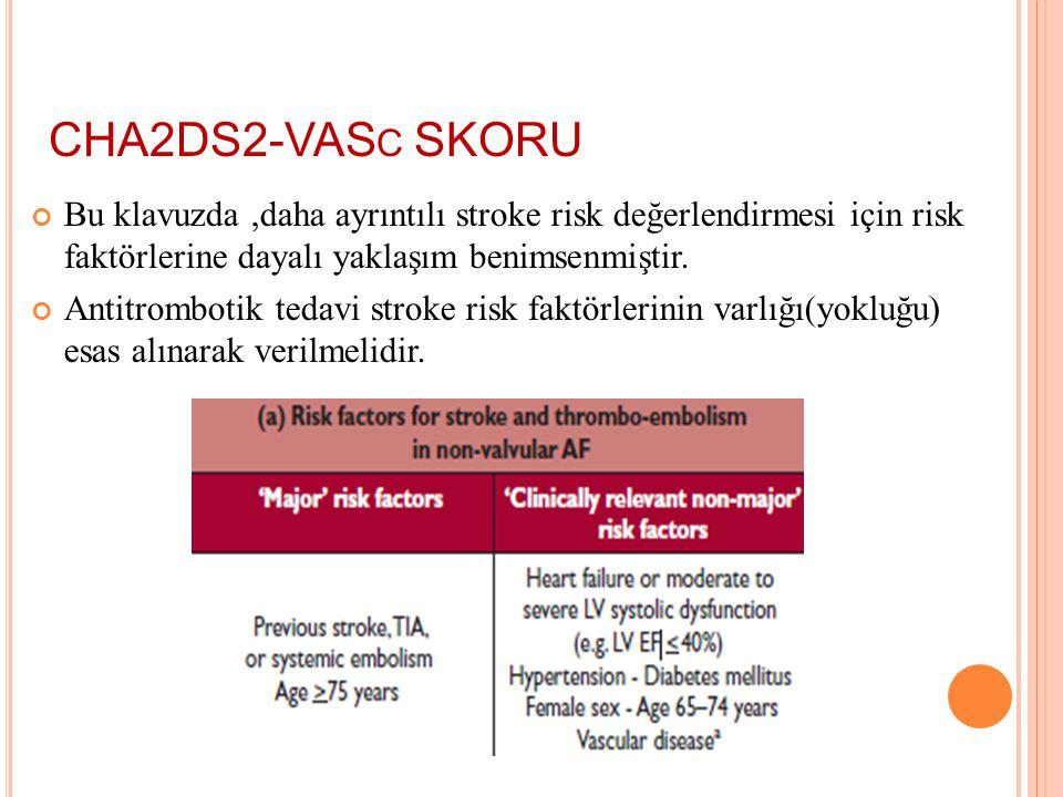 ANTİTROMBOTİK TEDAVİ Tromboembolizm ve stroke için en basit risk değerlendirme skor: CHADS2 score (Cardiac failure, Hypertension, Age, Diabetes, Strok