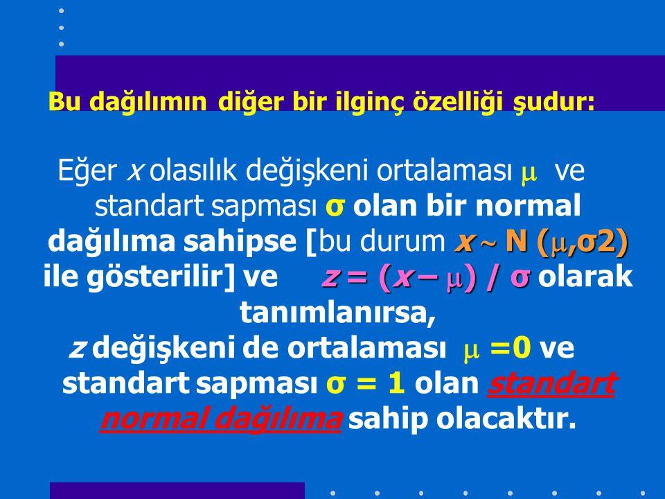 Bu dağılımın diğer bir ilginç özelliği şudur: x  N ( ,σ2) z = (x –  ) / σ Eğer x olasılık değişkeni ortalaması  ve standart sapması σ olan bir normal dağılıma sahipse [bu durum x  N ( ,σ2) ile gösterilir] ve z = (x –  ) / σ olarak tanımlanırsa, z değişkeni de ortalaması  =0 ve standart sapması σ = 1 olan standart normal dağılıma sahip olacaktır.