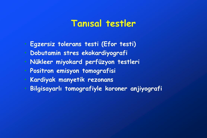 Tanısal testler Egzersiz tolerans testi (Efor testi) Dobutamin stres ekokardiyografi Nükleer miyokard perfüzyon testleri Positron emisyon tomografisi Kardiyak manyetik rezonans Bilgisayarlı tomografiyle koroner anjiyografi