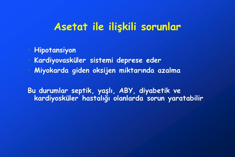 Asetat ile ilişkili sorunlar Hipotansiyon Kardiyovasküler sistemi deprese eder Miyokarda giden oksijen miktarında azalma Bu durumlar septik, yaşlı, AB