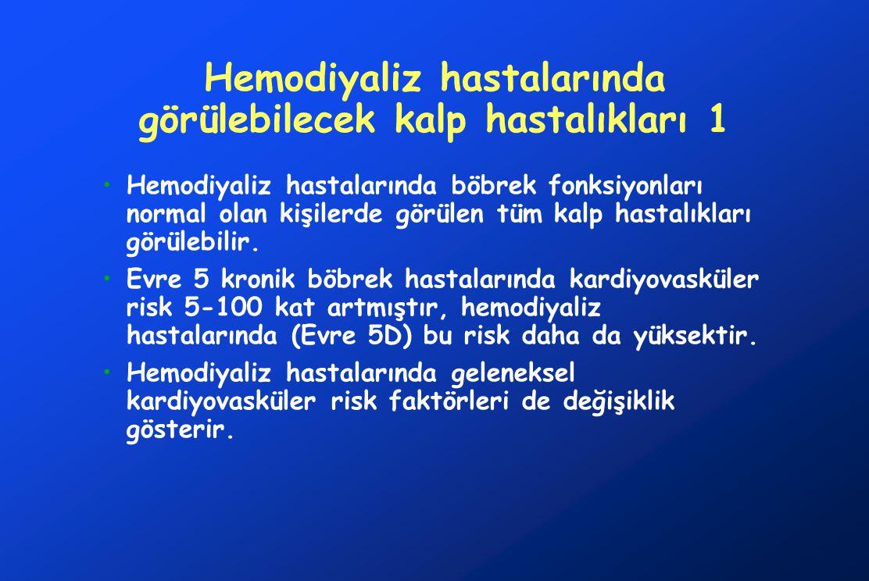 Hemodiyaliz hastalarında görülebilecek kalp hastalıkları 2 Koroner arter hastalığı Akut koroner sendrom Kapak hastalığı Kardiyomiyopati Aritmi Perikard hastalıkları