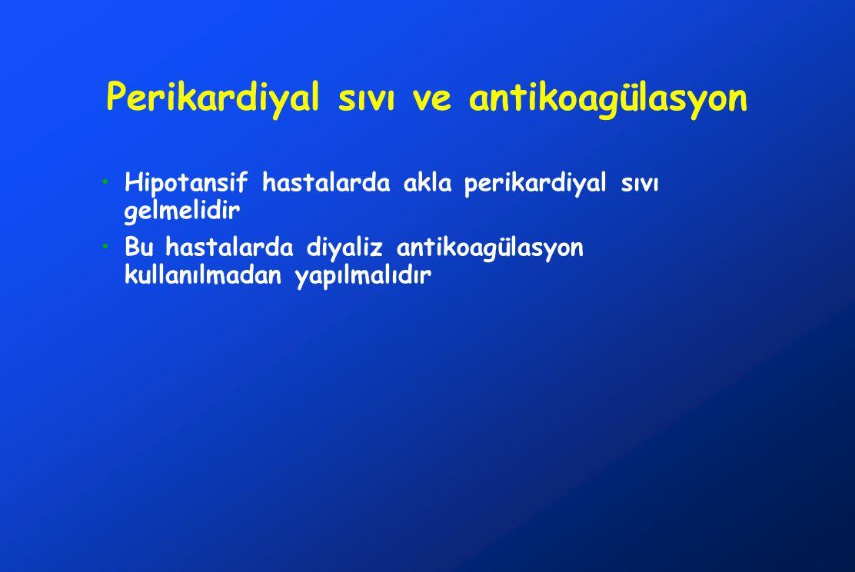 Perikardiyal sıvı ve antikoagülasyon Hipotansif hastalarda akla perikardiyal sıvı gelmelidir Bu hastalarda diyaliz antikoagülasyon kullanılmadan yapılmalıdır