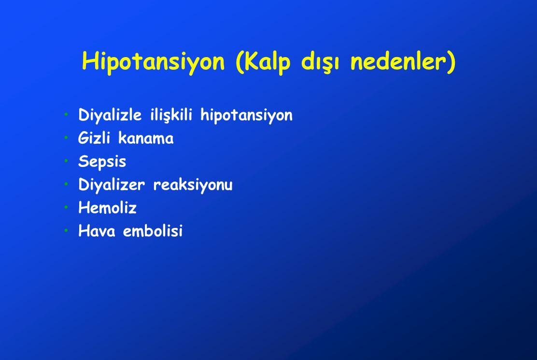 Hipotansiyon (Kalp dışı nedenler) Diyalizle ilişkili hipotansiyon Gizli kanama Sepsis Diyalizer reaksiyonu Hemoliz Hava embolisi