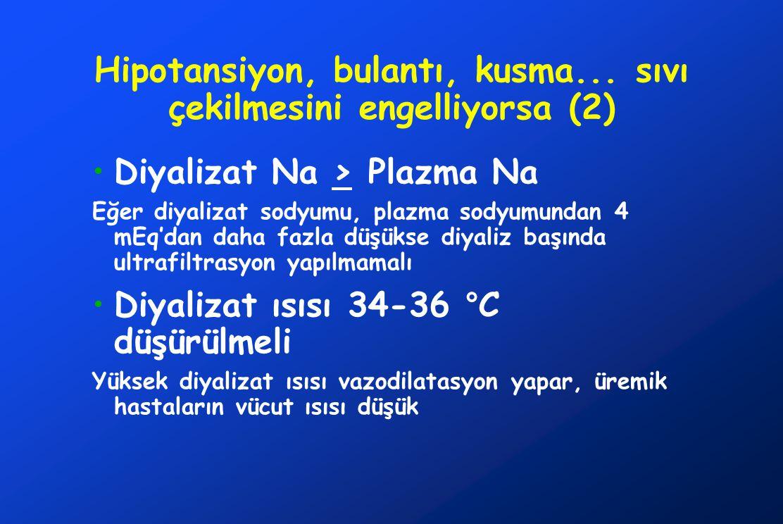 Hipotansiyon, bulantı, kusma... sıvı çekilmesini engelliyorsa (2) Diyalizat Na > Plazma Na Eğer diyalizat sodyumu, plazma sodyumundan 4 mEq'dan daha f