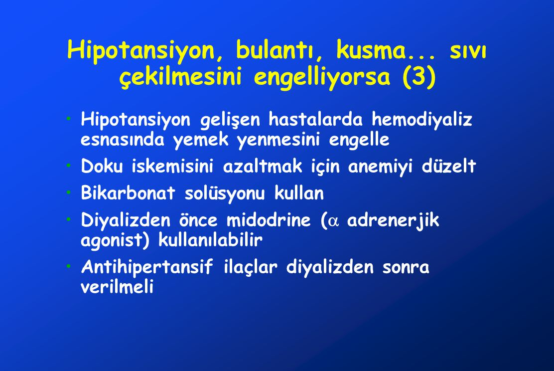 Hipotansiyon, bulantı, kusma... sıvı çekilmesini engelliyorsa (3) Hipotansiyon gelişen hastalarda hemodiyaliz esnasında yemek yenmesini engelle Doku i