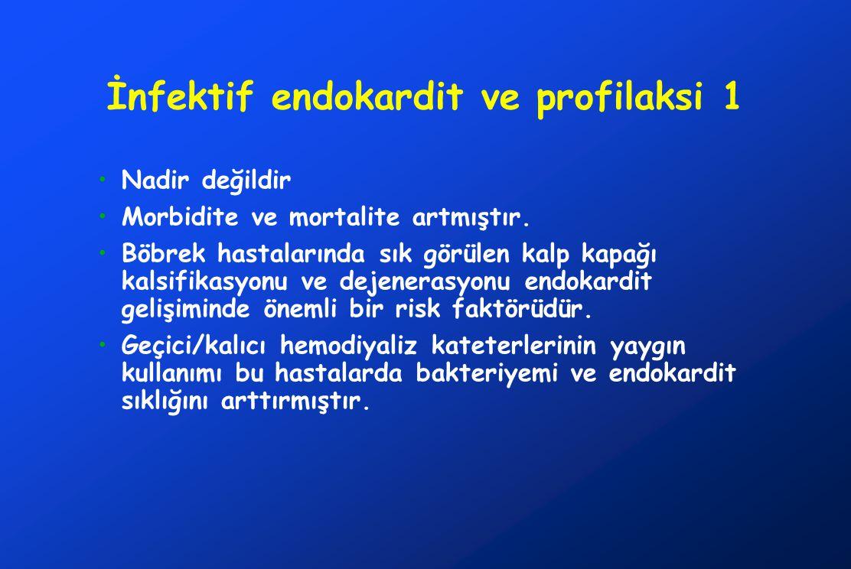 İnfektif endokardit ve profilaksi 1 Nadir değildir Morbidite ve mortalite artmıştır. Böbrek hastalarında sık görülen kalp kapağı kalsifikasyonu ve dej
