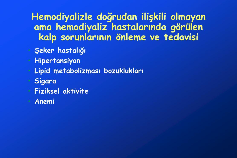 Hemodiyalizle doğrudan ilişkili olmayan ama hemodiyaliz hastalarında görülen kalp sorunlarının önleme ve tedavisi Şeker hastalığı Hipertansiyon Lipid metabolizması bozuklukları Sigara Fiziksel aktivite Anemi
