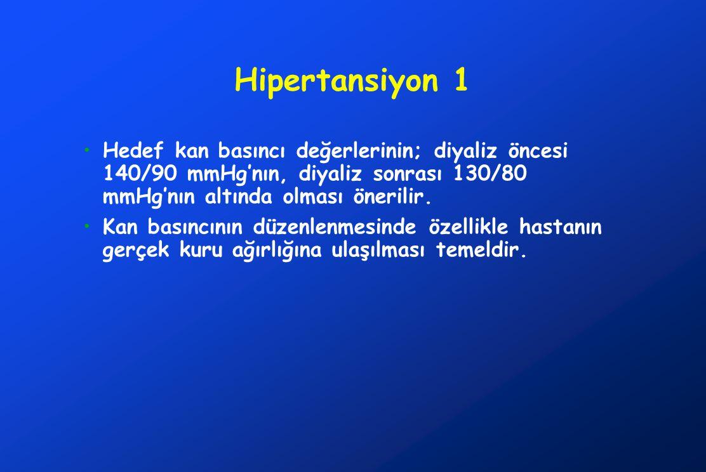 Hipertansiyon 1 Hedef kan basıncı değerlerinin; diyaliz öncesi 140/90 mmHg'nın, diyaliz sonrası 130/80 mmHg'nın altında olması önerilir. Kan basıncını