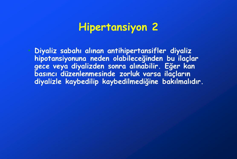 Hipertansiyon 2 Diyaliz sabahı alınan antihipertansifler diyaliz hipotansiyonuna neden olabileceğinden bu ilaçlar gece veya diyalizden sonra alınabilir.