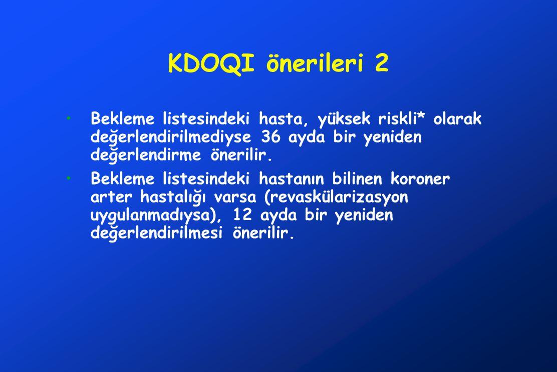 KDOQI önerileri 2 Bekleme listesindeki hasta, yüksek riskli* olarak değerlendirilmediyse 36 ayda bir yeniden değerlendirme önerilir. Bekleme listesind