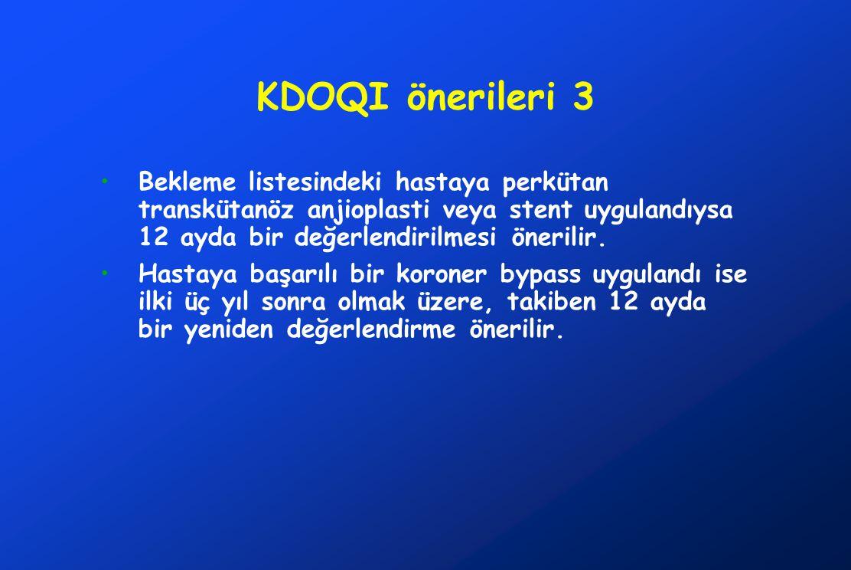 KDOQI önerileri 3 Bekleme listesindeki hastaya perkütan transkütanöz anjioplasti veya stent uygulandıysa 12 ayda bir değerlendirilmesi önerilir.