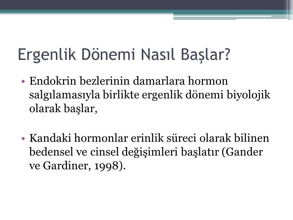 HORMONLAR Hormonlar, ergenlik döneminde bedensel ve cinsel gelişmeyi başlatırlar (Özbay ve Öztürk, 1992).