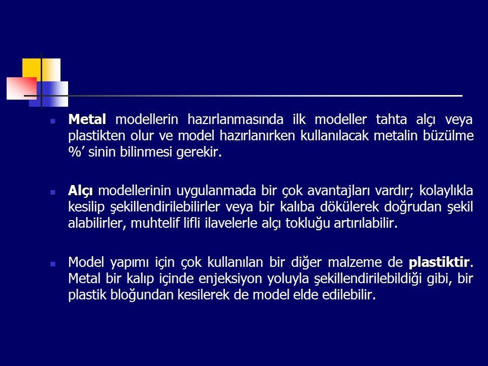 Metal Metal modellerin hazırlanmasında ilk modeller tahta alçı veya plastikten olur ve model hazırlanırken kullanılacak metalin büzülme %' sinin bilinmesi gerekir.