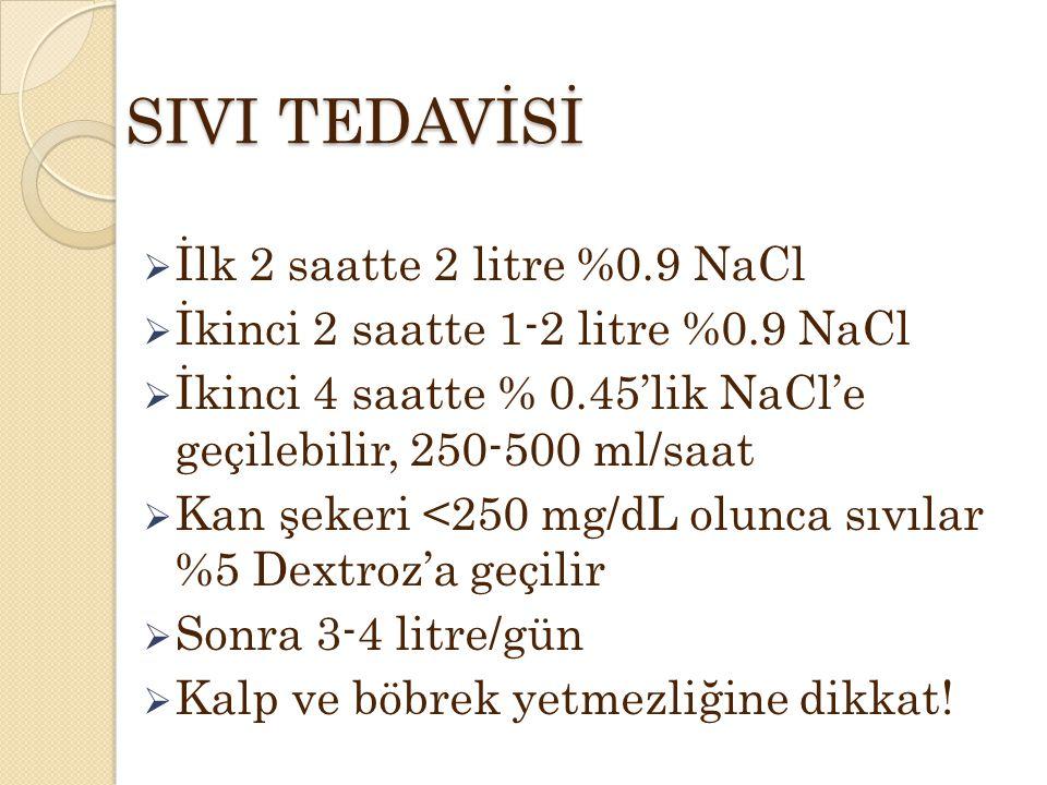 SIVI TEDAVİSİ  İlk 2 saatte 2 litre %0.9 NaCl  İkinci 2 saatte 1-2 litre %0.9 NaCl  İkinci 4 saatte % 0.45'lik NaCl'e geçilebilir, 250-500 ml/saat  Kan şekeri <250 mg/dL olunca sıvılar %5 Dextroz'a geçilir  Sonra 3-4 litre/gün  Kalp ve böbrek yetmezliğine dikkat!