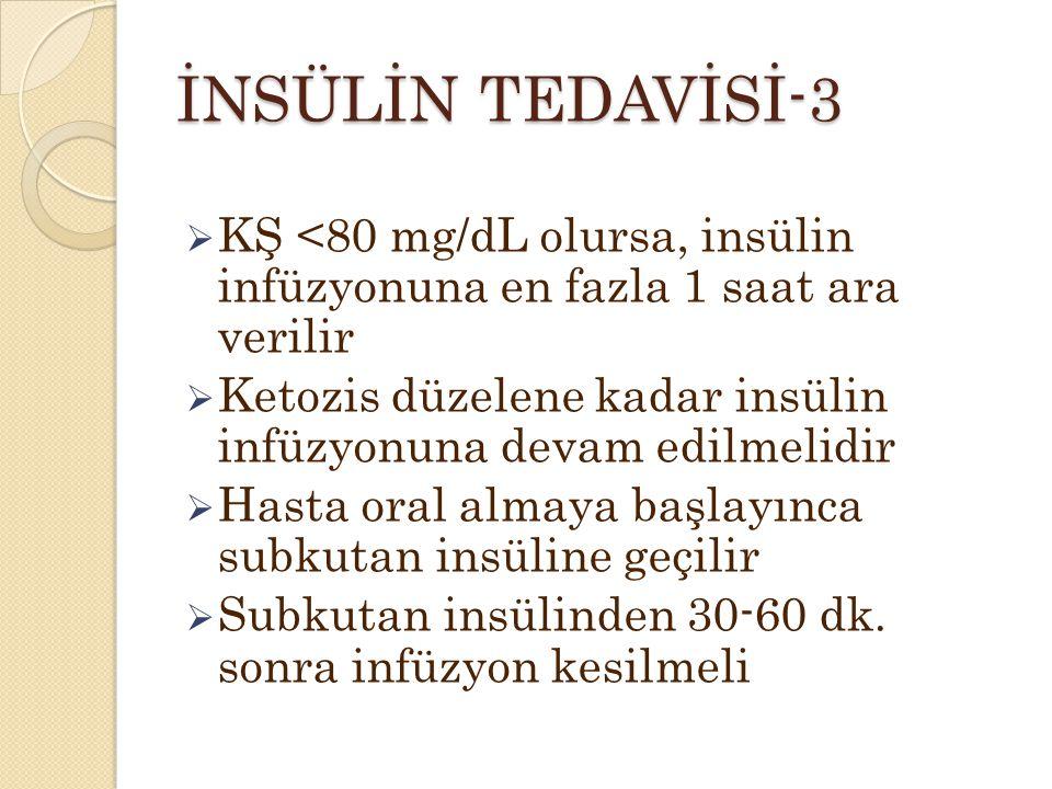 İNSÜLİN TEDAVİSİ-3  KŞ <80 mg/dL olursa, insülin infüzyonuna en fazla 1 saat ara verilir  Ketozis düzelene kadar insülin infüzyonuna devam edilmelidir  Hasta oral almaya başlayınca subkutan insüline geçilir  Subkutan insülinden 30-60 dk.