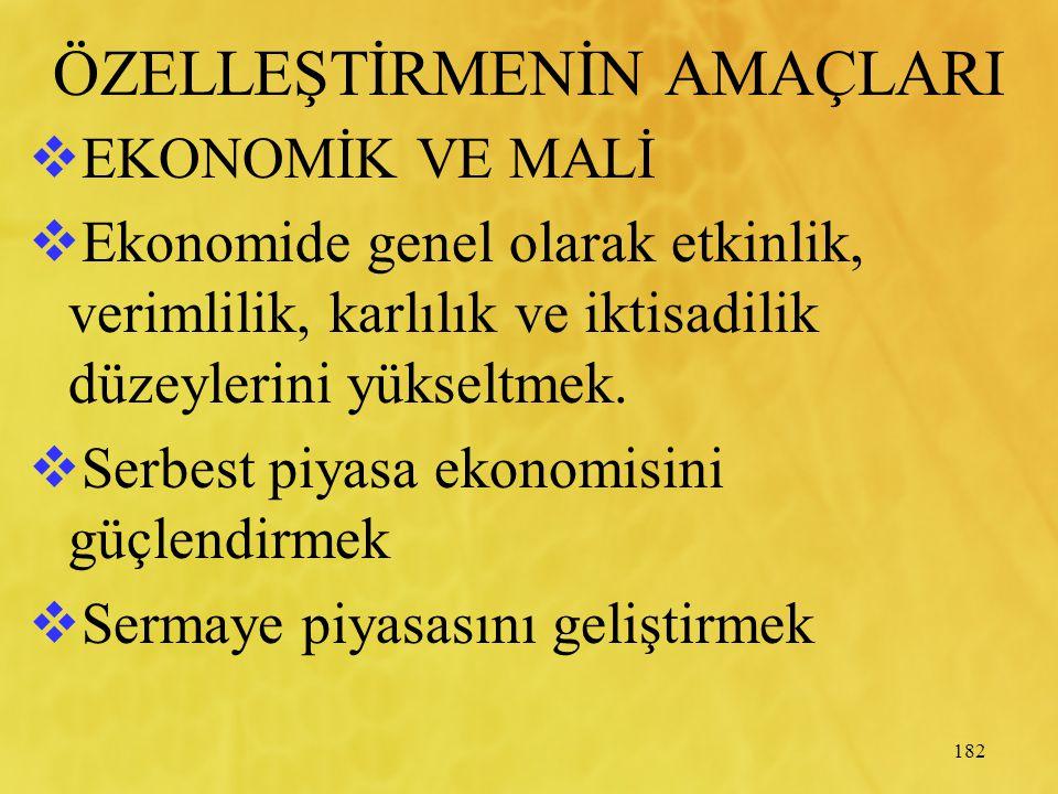 182 ÖZELLEŞTİRMENİN AMAÇLARI  EKONOMİK VE MALİ  Ekonomide genel olarak etkinlik, verimlilik, karlılık ve iktisadilik düzeylerini yükseltmek.  Serbe